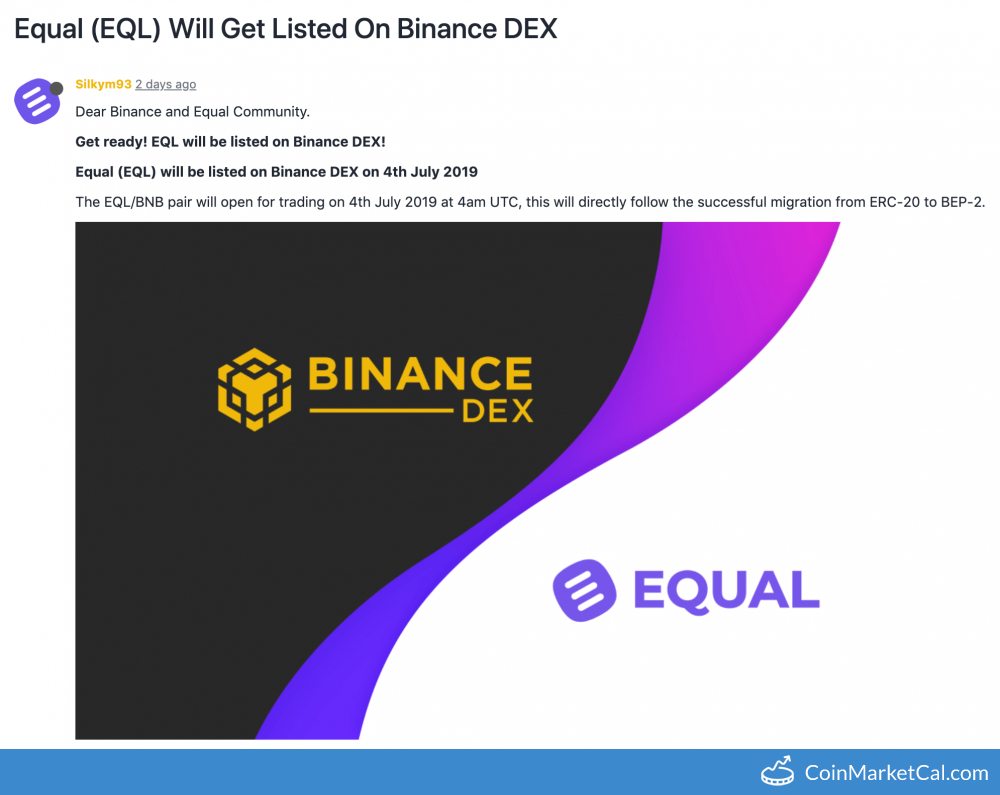 EQL on Binance DEX image