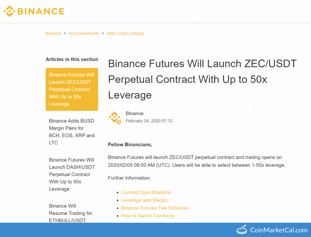 Binance ZEC/USDT Futures image