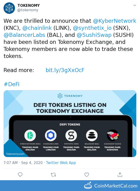 Tokenomy Exchange Listing image