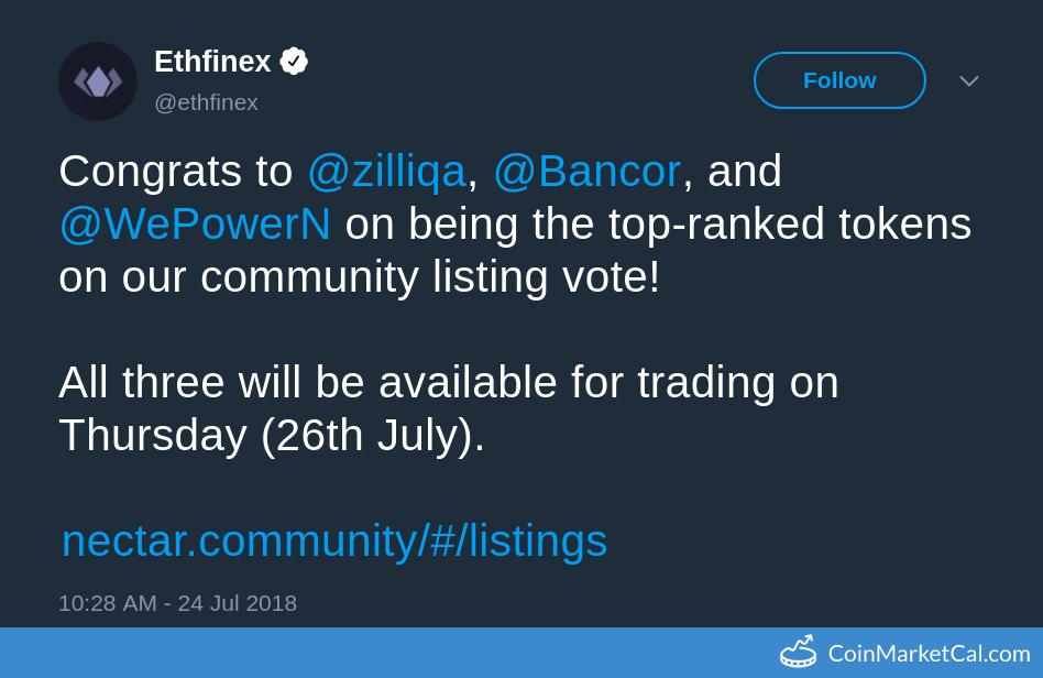 Ethfinex Listing image